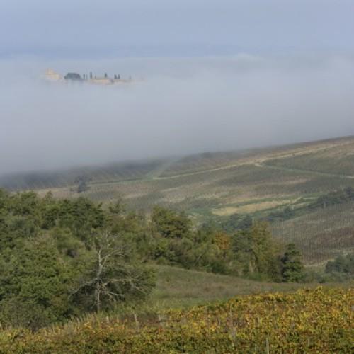 E dalla nebbia spunta Castel Porrona, uno dei tanti meravigliosi borghi e castelli della nostra regione